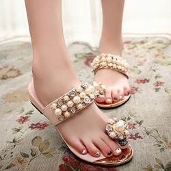 Shoespie Cute Beading Clip Toe Slippers