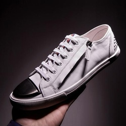 Shoespie Metallic Side Zipper Sneakers
