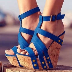 Sophisticated Cloth Rivets Ankle Strap Wedge Sandals