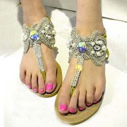Shoespie Luxurious Gemstones Ankle Wrap Flat Sandals