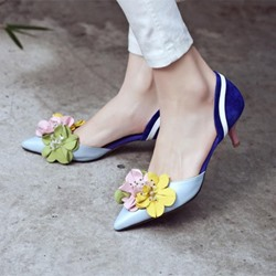 Shoespie Casual Flowers Embellished D'orsay Low Heels