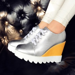 Shoespie Wedge Lace Up Sneakers