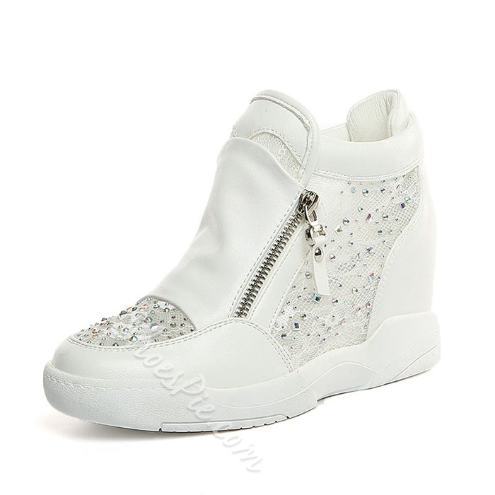Shoespie Mesh and Crystal Side Zipper Elevated Sneakers