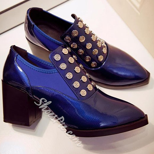 Shoespie Royal Blue Rivets Chunky Heel Ankle Boots