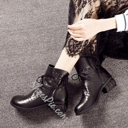 Shoespie Genuine Leather Lace Up Holes Sneakers