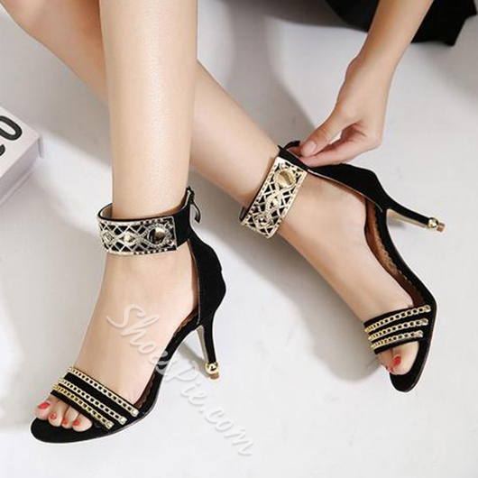 Shoespie Cutout Metal and Ankle Wrap Dress Sandals