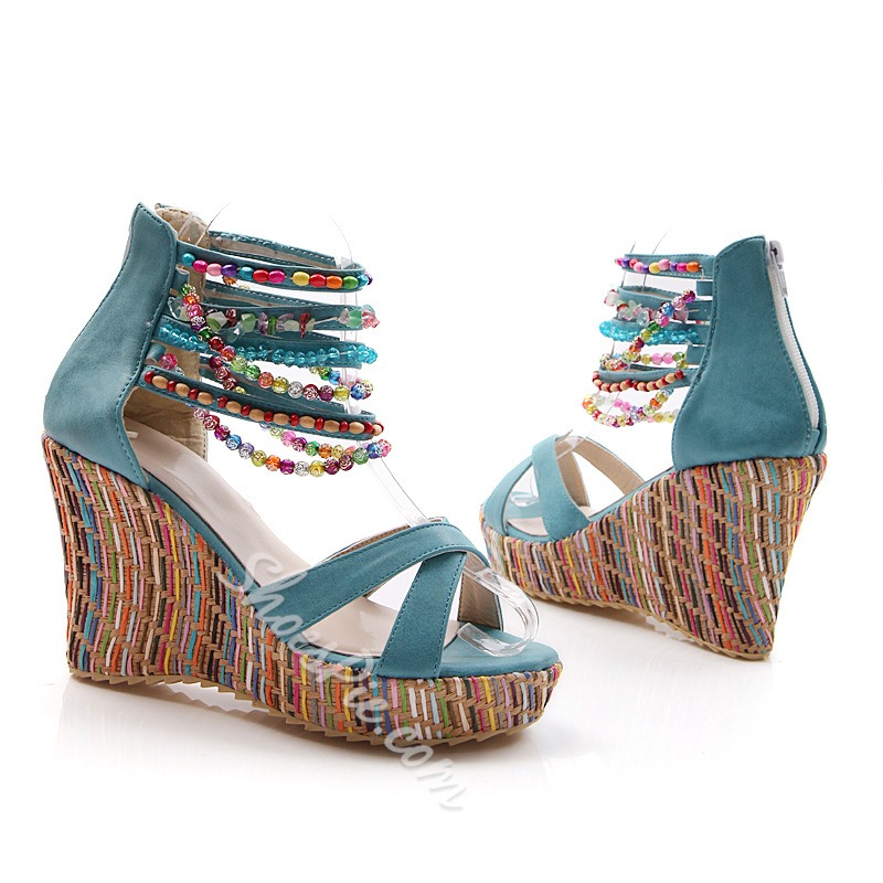 Shoespie Ankle Beading Wrap Wedge Sandals