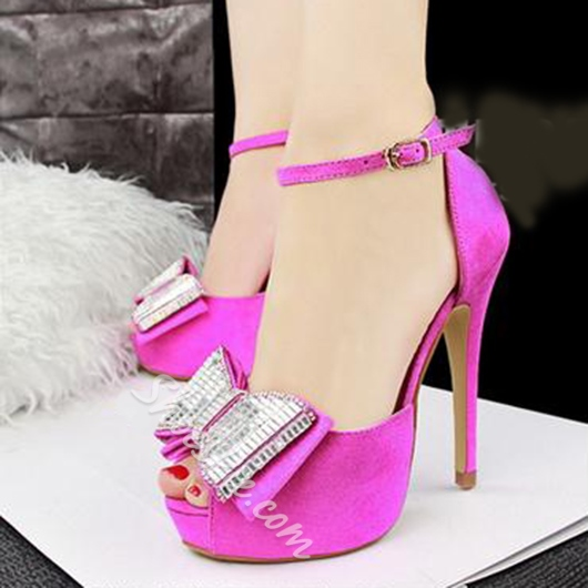 Shoespie Peep Toe Bow Platform Sandals
