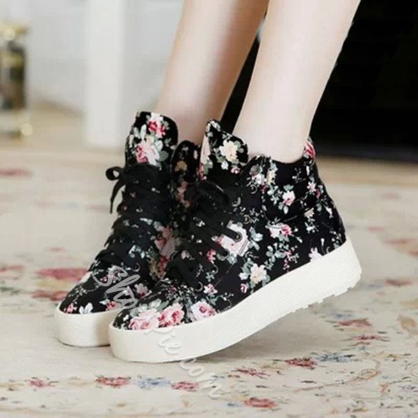 Shoespie Flower Print Sneakers