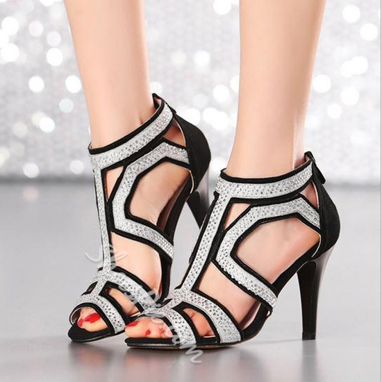 Shoespie Genuine Leather Back Zipped Dress Sandals