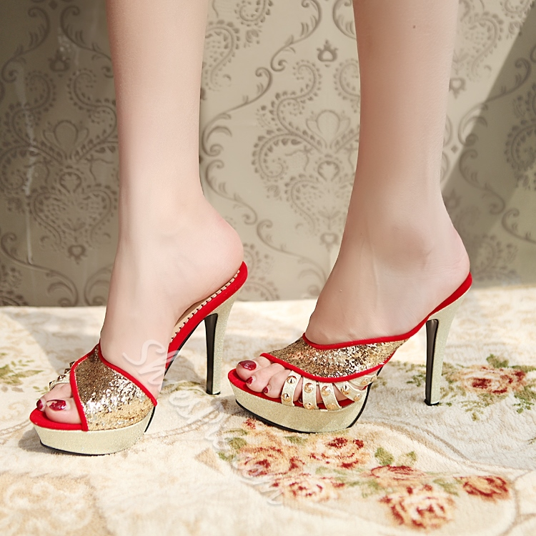 Shoespie Sequined Platform Slipper Sandals