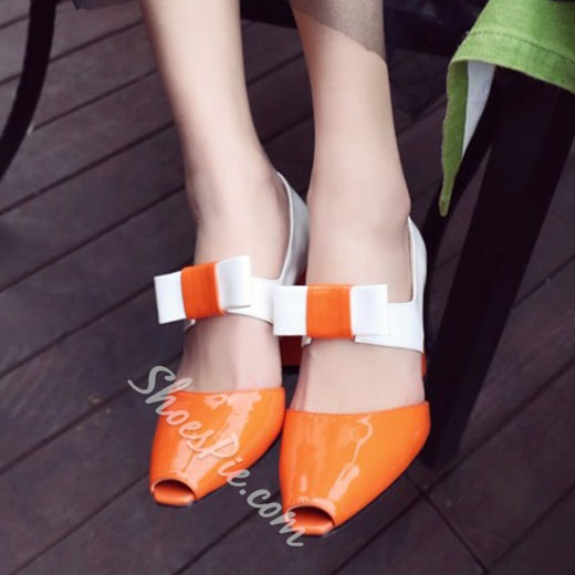 Shoespie Spring Chic Orange Chunky Heels