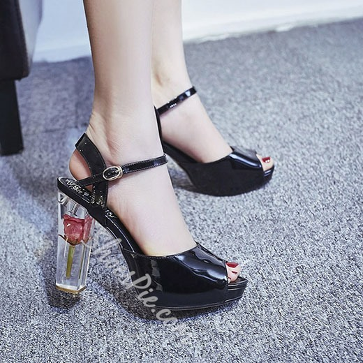 Shoespie Concise Style Flower Transparent Heels