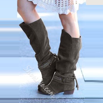 Shoespie Suede Straps Square Heel Knee High Boots