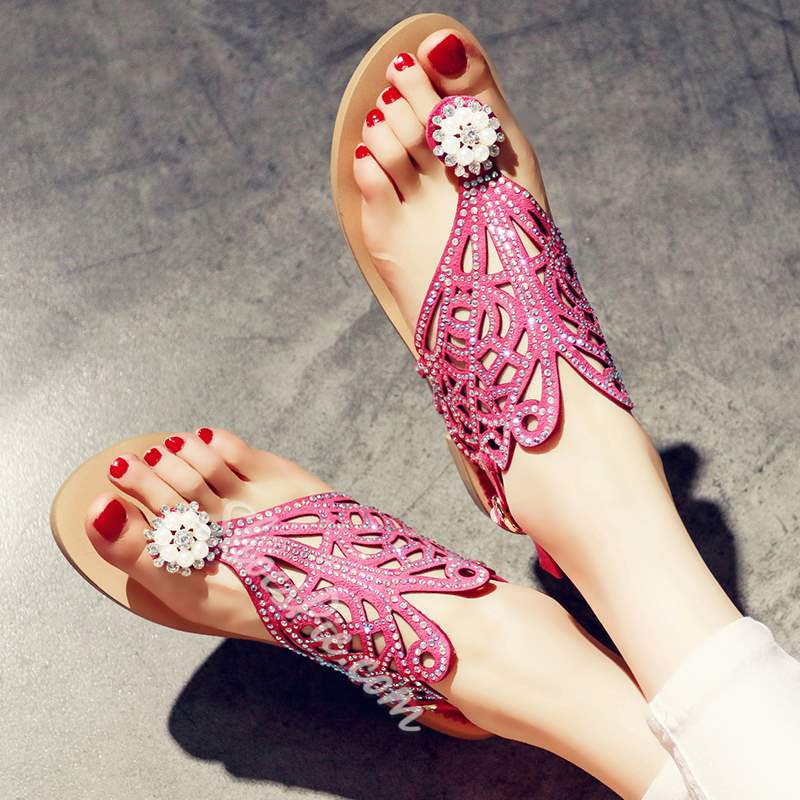 Shoepie Cutout Thong Pearls Decorated Flat Sandals