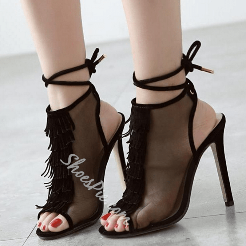 Shoespie Transparent Peep Toe Fringes Lace Up Sandals