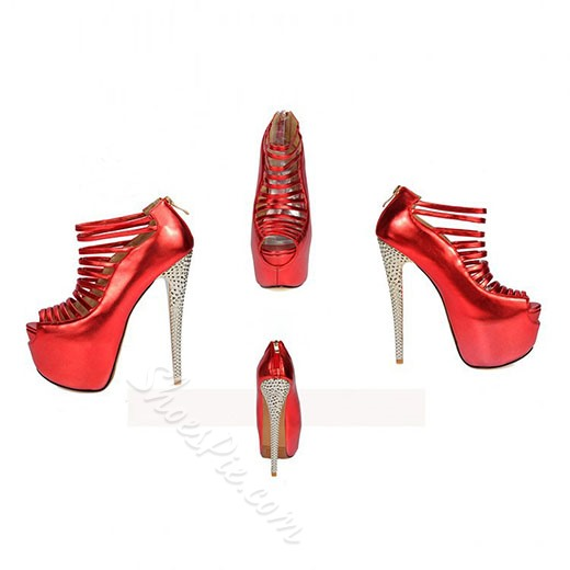 Shoespie Gorgeous Bandage Back Zipper Platform Heels