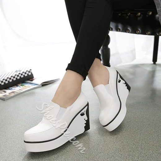 Shoespie Street Style Face Printed Wedge Heel Sneakers