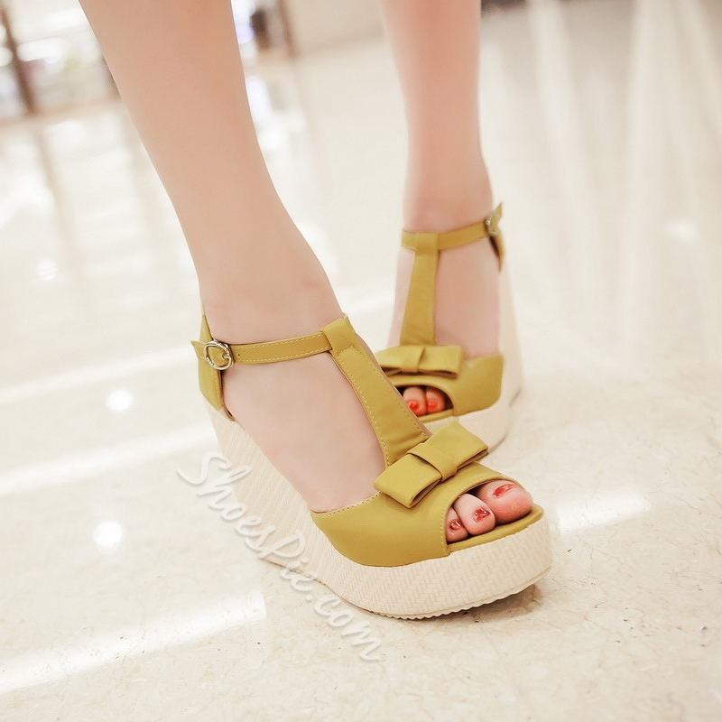 Shoespie Cute Solid Color Bow Wedge Sandals