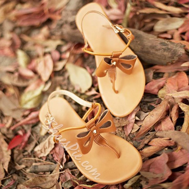 Shoespie Hollow Bow Thong Flat Sandals