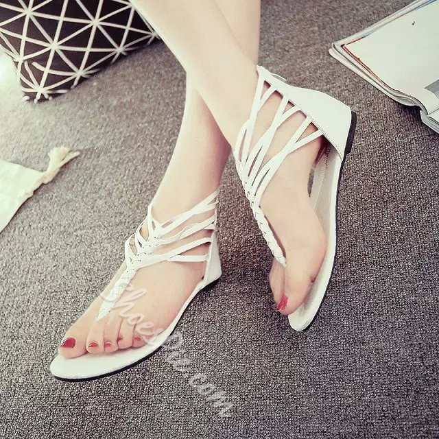 Shoespie Woven Thong Flat Sandals