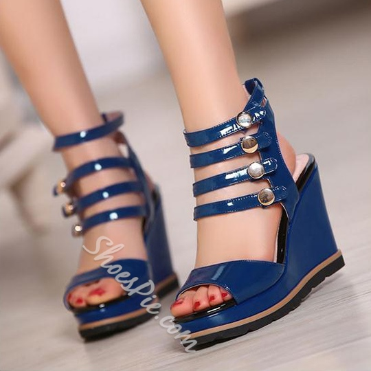 Shoespie Blue Patent Leather Strappy Wedge Sandals