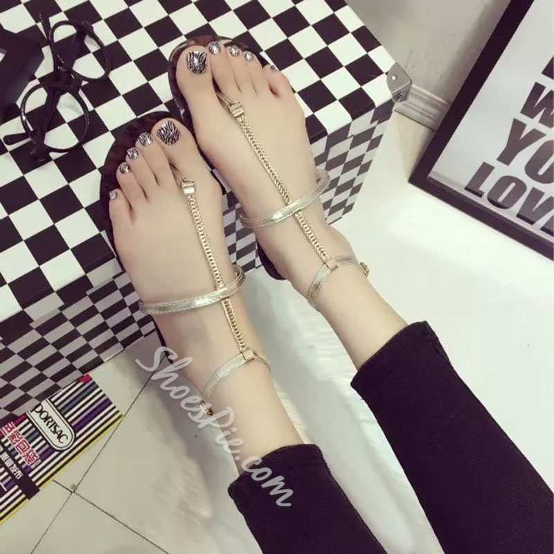 Shoespie Chains Strap Flat Sandals