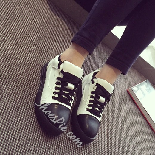 Shoespie Two Tone Patchwork Sneakers