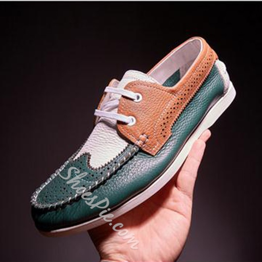 Shoespie Genuine Leather Color Block Lace Up Men's Loafers