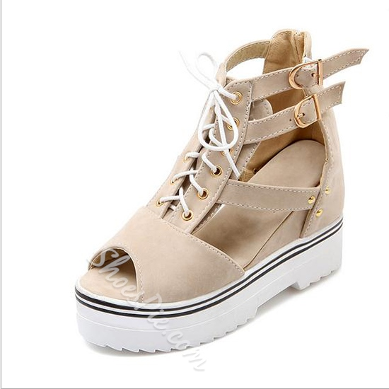 Shoespie Cutout Peep Toe Lace Up Wedge Sneakers