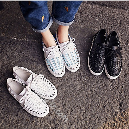 Shoespie Trendy Weave Caged Sneakers