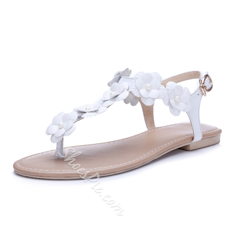Shoespie Flower Appliqued Thong Flat Sandals