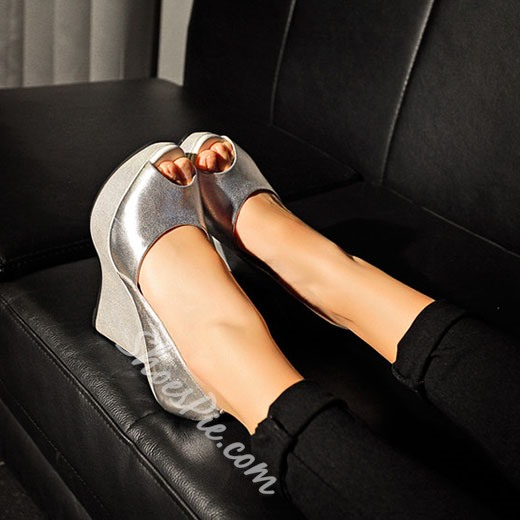 Shoespie Gorgeous Sliver Peep Toe Strange Style Wedges