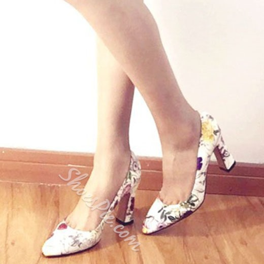 Shoespie Spring New Flower Print Chunky Heels