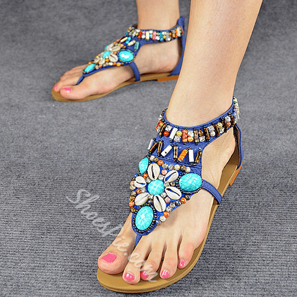 Shoespie Colorful Stones Thong Sandals