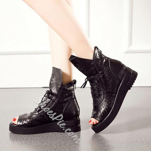 Shoespie Black Embossed Camellia Lace Up Sneakers