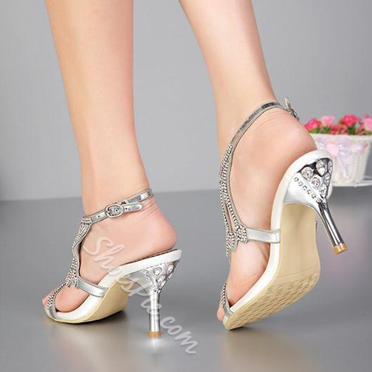 Shoespie Silver Luxurious Rhinestone Dress Sandals