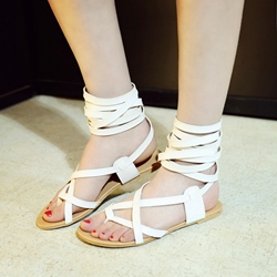 Shoespie Ankle Wrap Up Flat Gladiator Sandals