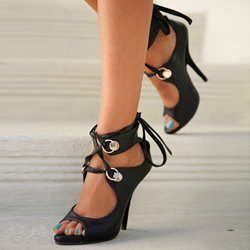 Shoespie Black Lace Up Ankle Wrap Sandals