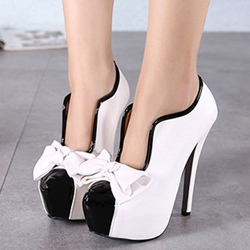 Shoespie Space Age Color Block Bowtie Platform Heels