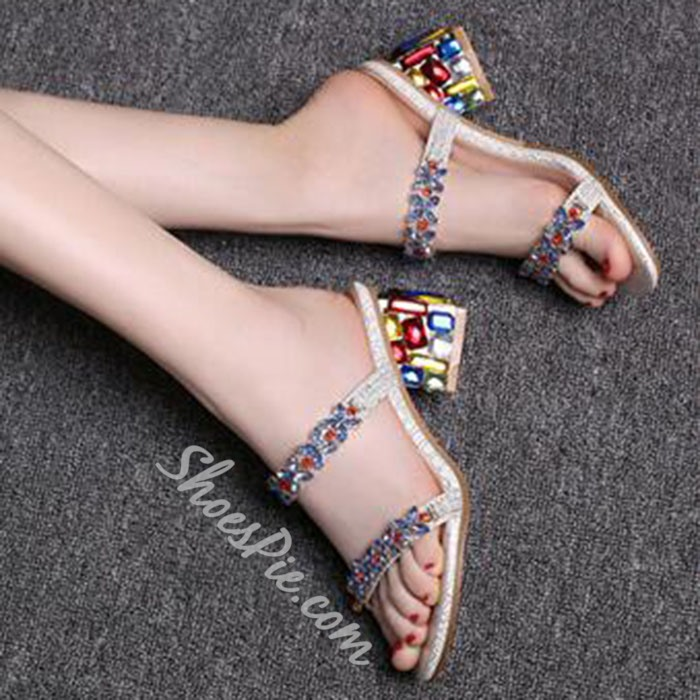 Shoespie Colorful Rhinestone Square Heel Mules Shoes