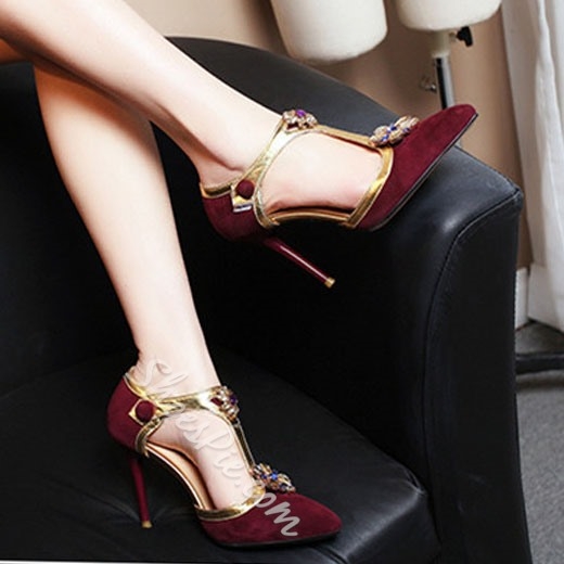 Shoespie Granny Chic Flower Rhinestone Stiletto Heels