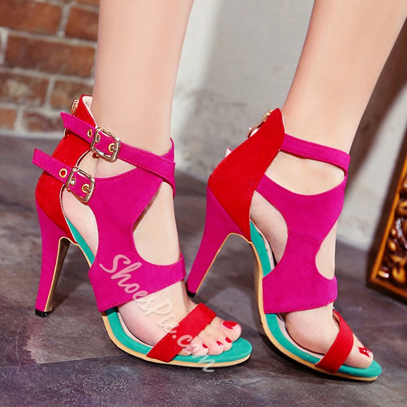 Shoespie Suede Contrast Color Dress Sandals