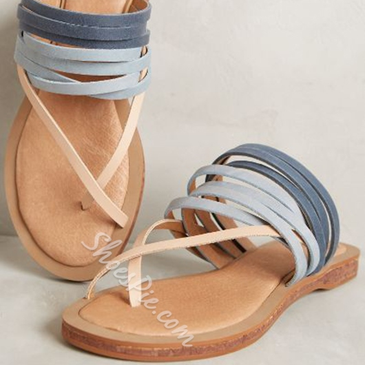 Shoespie Colorful Strappy Flat Sandals