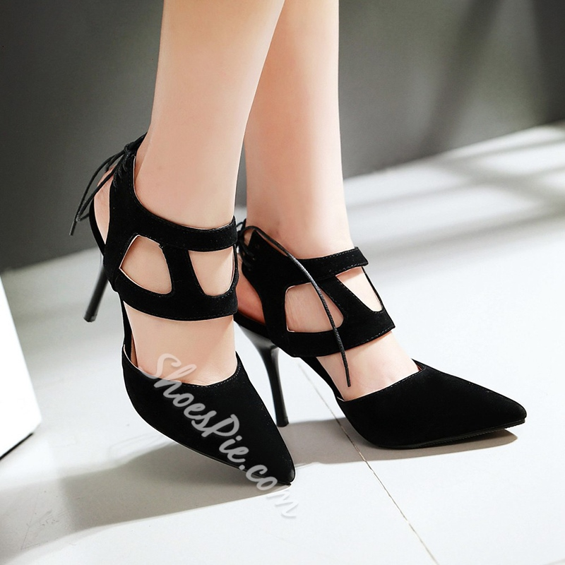 Shoespie Trendy Cut Out Lace Up Stiletto Heels