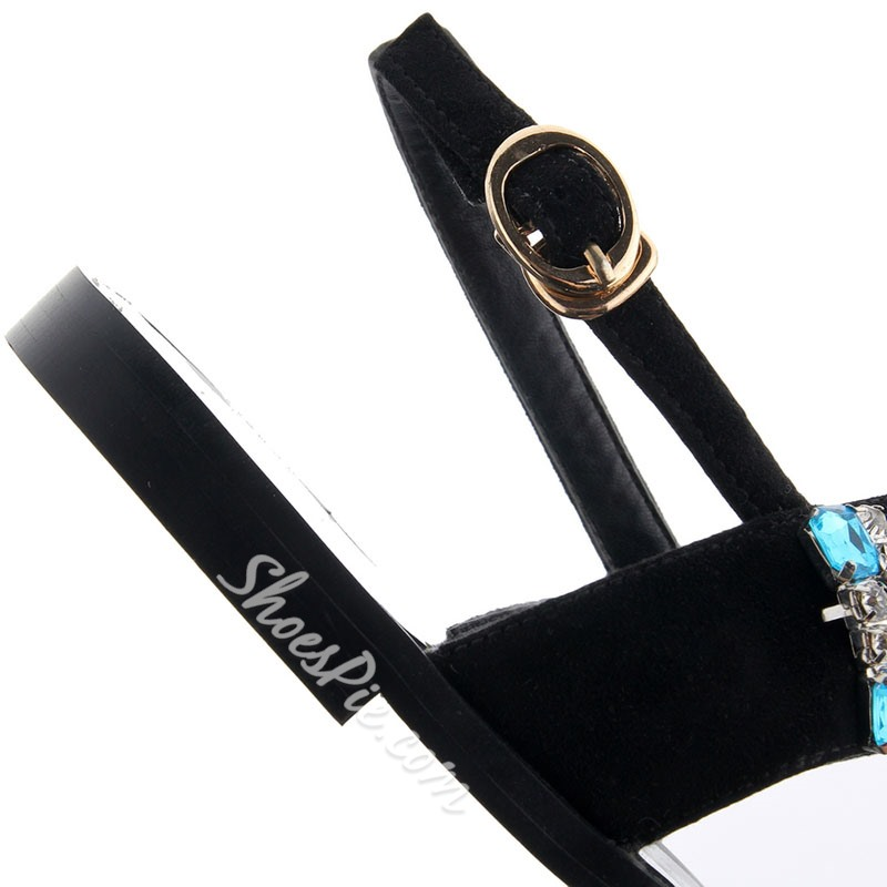Shoespie Luxurious Black Jeweled Clip Toe Flat Sandals