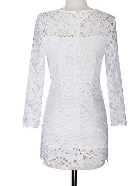 Hollow Lace Long Sleeve Bodycon Dresses