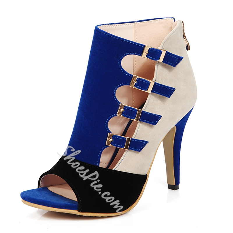 Shoespie Contrast Color Buckles Dress Sandals