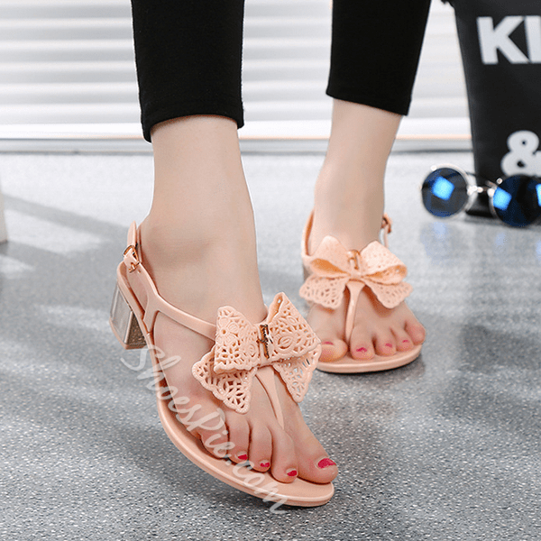 Shoespie Bow Thong Flat Sandals