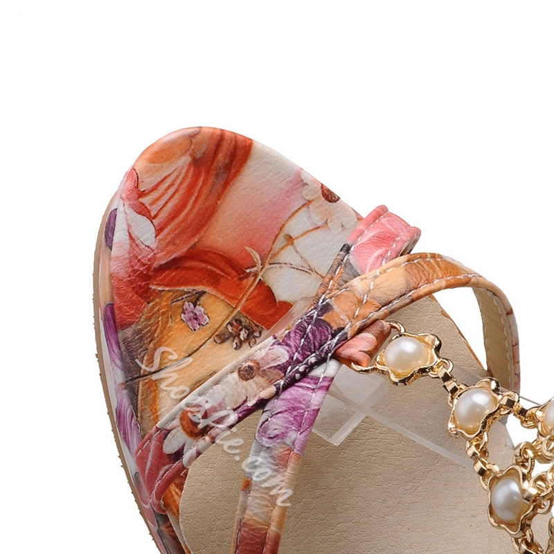Shoespie Sweet Flower Print Dress Sandals